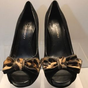B Makowsky Black Suede with Leopard Bow Heels